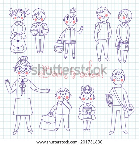 The teacher with the students. Back to school. Vector illustration. - stock vector