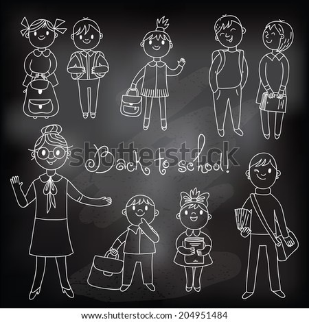 The teacher with the students. Drawing with chalk on a blackboard. Vector illustration. - stock vector