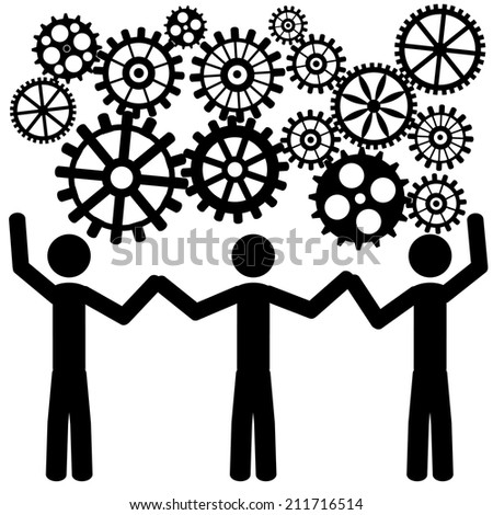 The team is thinking the same. It is a stick figure vector. EPS10  - stock vector
