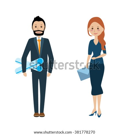 The team of business people. Flat line design style modern vector teamwork concept, office workers career. Young man and woman in the team. management, Web site banner, landing page.