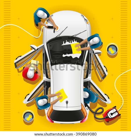 The team of workers carries out a complex wash and cleaning of the car on car wash. - stock vector