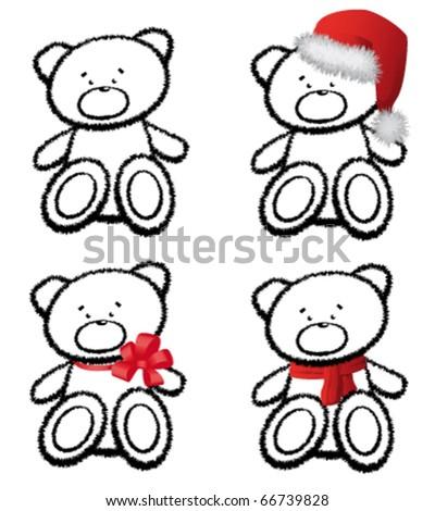 The teddy bear isolated on white - stock vector