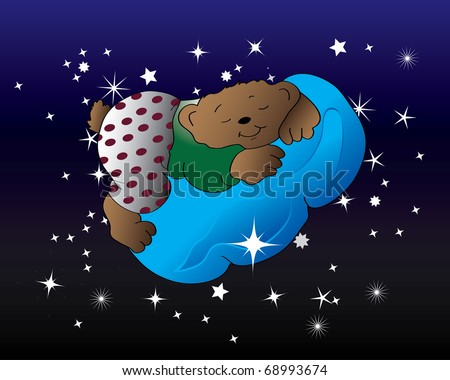 The teddy bear sleeps. Vector illustration