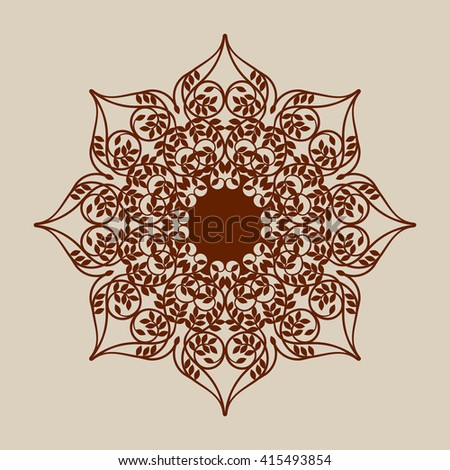 laser engraver templates - indian outline mandala illustration isolated on stock