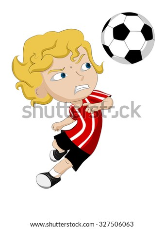 The tempo of the game, He headed the ball  for victory.Vector clip art illustration
