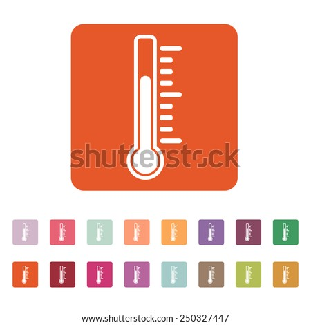 The thermometer icon. Thermometer symbol. Flat Vector illustration. Button Set