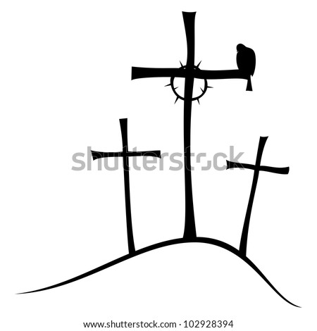The three crosses on Golgotha, crown of thorns and doves. - stock vector
