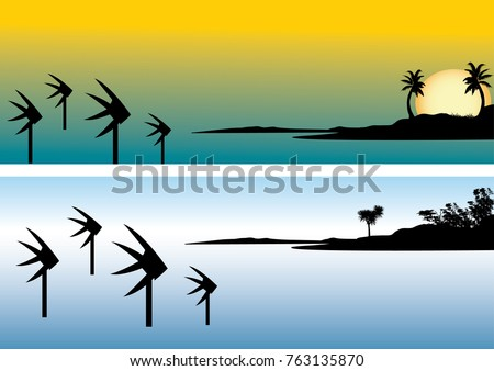 The three fishes icon from the Cairns esplanade, Queensland, Australia depicting the fish against an orange tropical sunset over the sea with palm trees, vector illustration