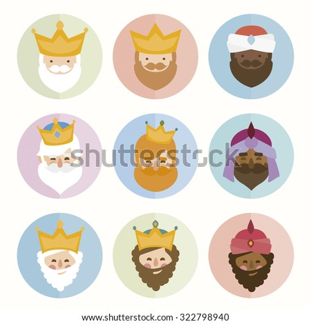 the three kings of orient isolated. 3 magi. icons vector set - stock vector