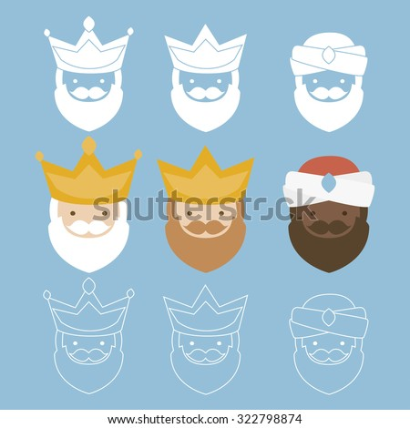 the three kings of orient. 3 magi icons vector set - stock vector