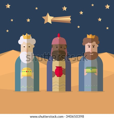 The three Kings of Orient, wise men, 3 magi  - stock vector