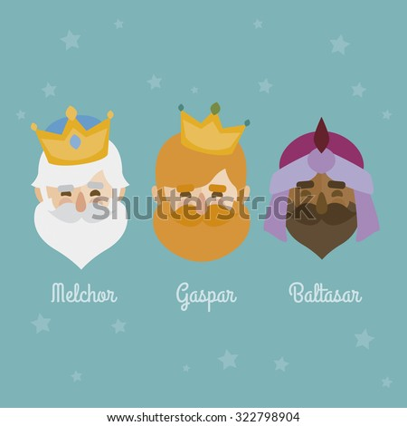 The three Kings of Orient, wise men, 3 magi icons vector set  - stock vector