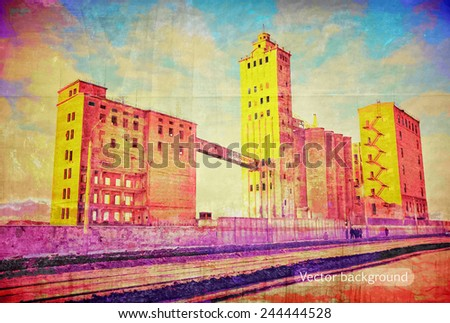 The thrown old factory, grunge texture, vector background - stock vector