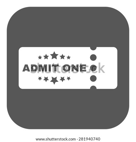The ticket icon. Ticket symbol. Flat Vector illustration. Button - stock vector