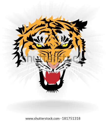 The Tiger head vector background - stock vector