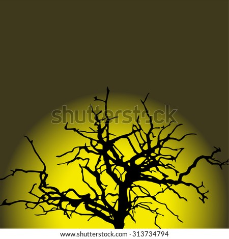The tip of the black mystical tree on the background of the full moon. Halloween. Vector. - stock vector