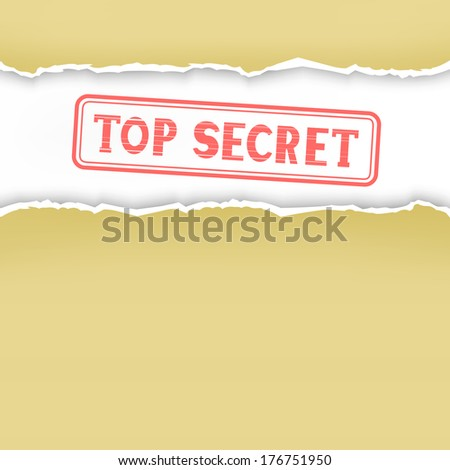 The torn yellow folder and secrets white paper inside - stock vector