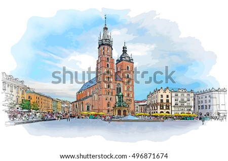 The town square in Krakow & Church of St. Mary. Poland. Color vector sketch