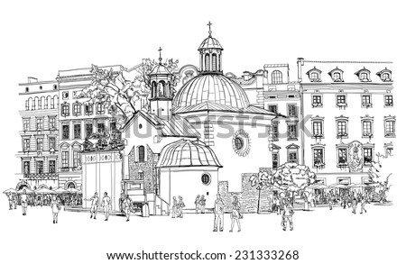 The town square in Krakow. Poland. Black & white vector sketch - stock vector