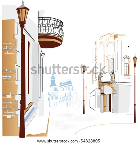 The town street - stock vector