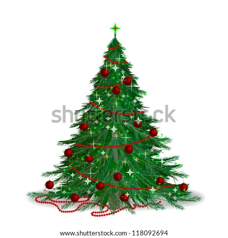 The traditional Christmas tree. The new year's fir. - stock vector