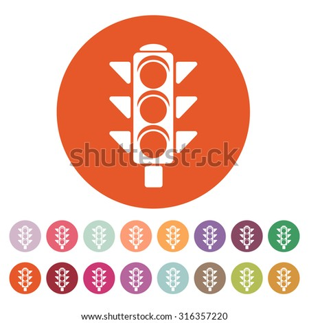 The traffic light icon. Stoplight and  semaphore, crossroads symbol. Flat Vector illustration. Button Set - stock vector