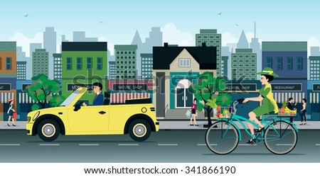 The traffic of cars and motorcycles on city streets. - stock vector