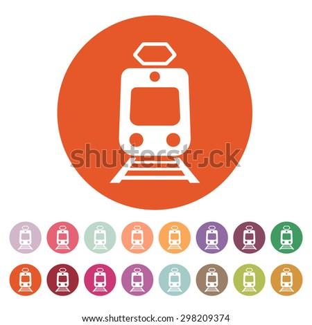 The train icon. Metro and tram, railroad symbol. Flat Vector illustration. Button Set - stock vector