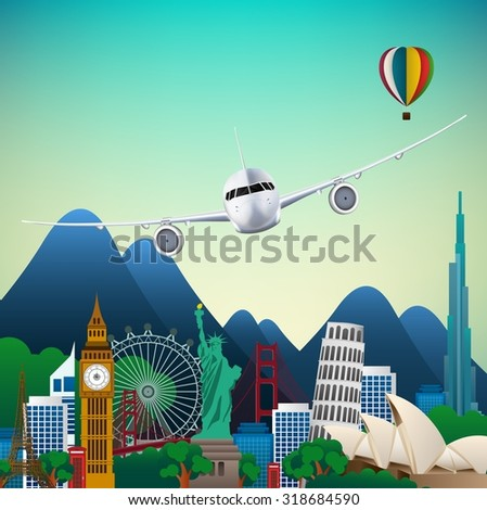 The travel of Famous monuments of the world. Symbol. vector - stock vector