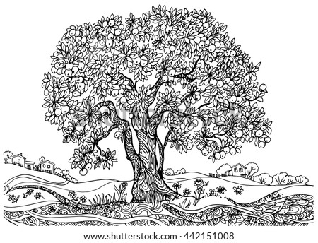 the tree of fertility. illustration drawing on paper. a tree with a harvest of apples .monochrome contour picture - stock vector