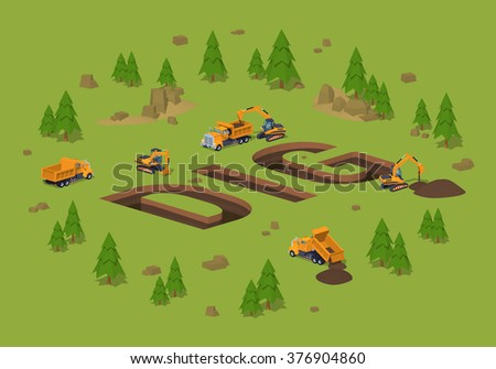 The trenches in the form of the word Dig. 3D lowpoly isometric vector concept illustration
