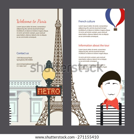The trip to Paris. Travel flyer with famous landmarks of France: the Eiffel tower, the metro, the arc de Triomphe. Easy editable tourism template. Perfect for banners, posters. - stock vector
