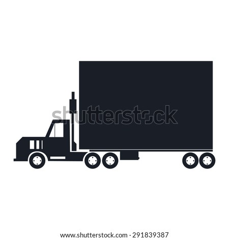 the truck, a truck with a big box. vector, easy change colors