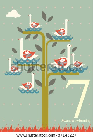 The twelve days of Christmas - seventh day of Christmas - seven swans a swimming - stock vector