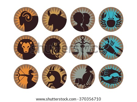 The twelve signs of the modern zodiac - stock vector