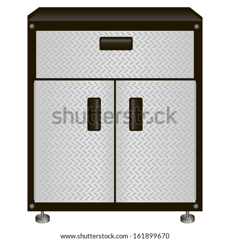 The two-door steel cabinet with drawers for tools. Vector illustration. - stock vector