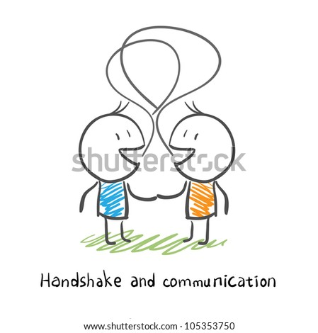 The two men shake hands, and socialize. Illustration. - stock vector