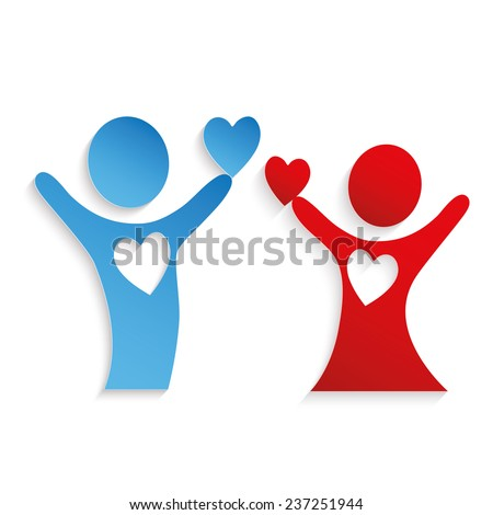 The two paper person holds hearts. The love concept. - stock vector