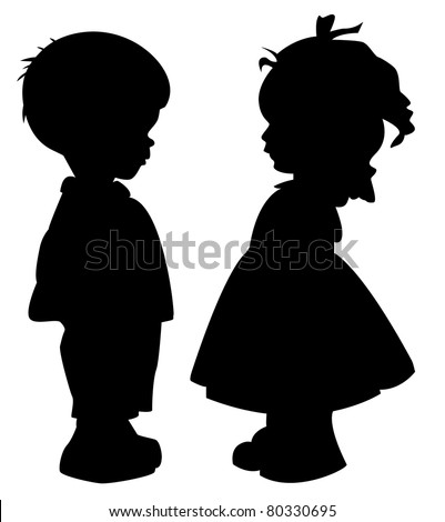 The two silhouette of a boy and girl - stock vector