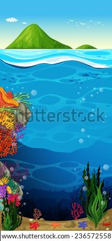 The underwater view of the deep ocean - stock vector