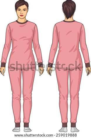 The underwear for the woman consists of a jacket and trousers - stock vector