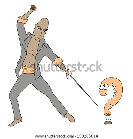 The unexpected question that surprised the question mark - stock vector