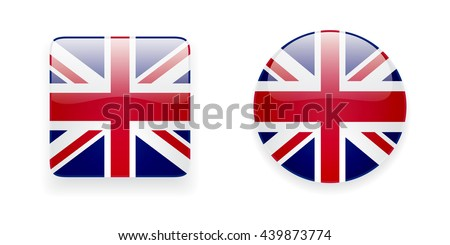 The Union Jack flag vector icon set. Glossy round icon and square icon with flag of the UK on white background. - stock vector