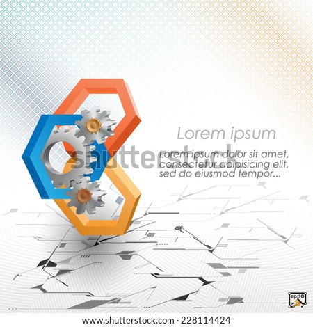 The Unique Idea for technology background; Cogwheels framed by three dimensions hexagons. Abstract background for office and business, wallpaper, poster, template for designers.  - stock vector