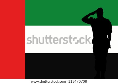 The United Arab Emirates flag and the silhouette of a soldier saluting - stock vector