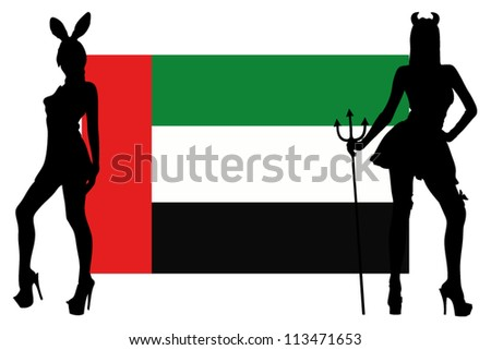 The United Arab Emirates flag with silhouettes of women in sexy costumes