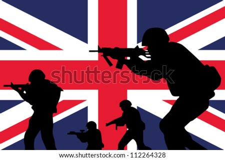 The United Kingdom flag and the silhouette of soldiers