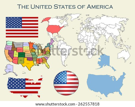 The United States of America.Vector set. Detailed country shape with region borders, flags and icons isolated on white background. World Map. vector Illustration. - stock vector