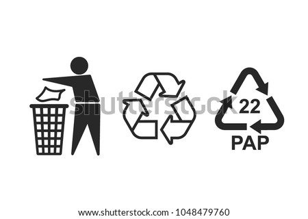 Universal Recycling Symbols International Symbols Used Stock Vector