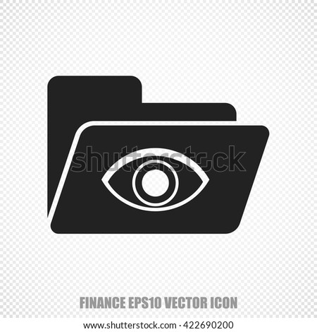 The universal vector icon on the business theme: Black Folder With Eye. Modern flat design. For mobile and web design. EPS 10. - stock vector